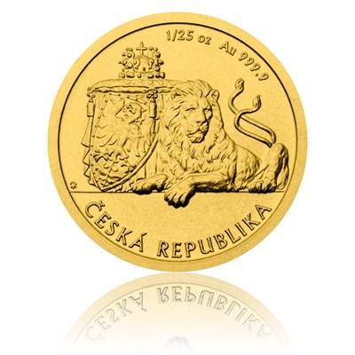 Investice do zlata - Zlatá 1/25 oz investiční mince Český lev 2017 stand