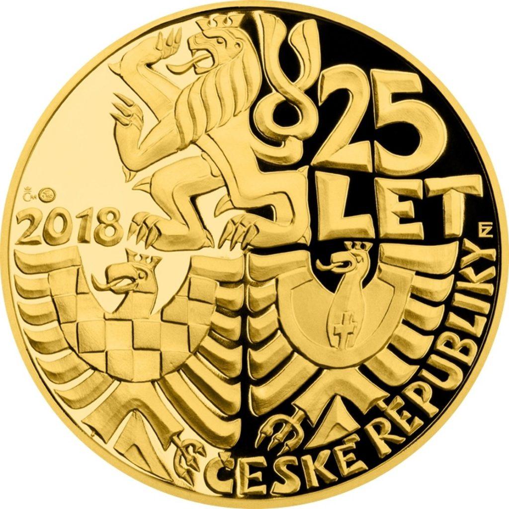 mince upomínající 25 let od vzniku samostatné České republiky