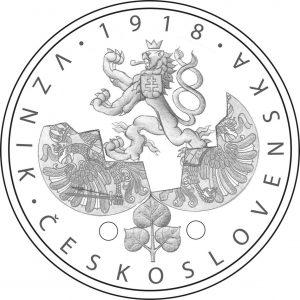 zlatá mince 1918 Vznik Československa návrh