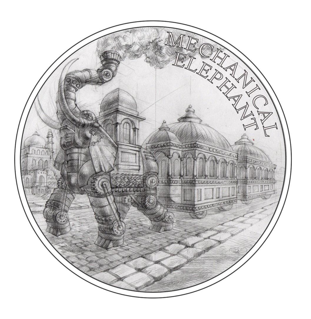 Stříbrná mince Fantastický svět Julese Verna - Ocelový parní slon proof