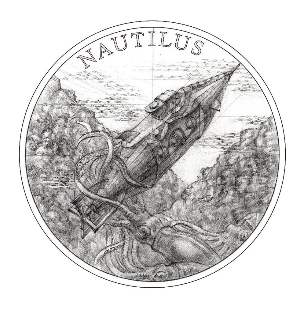 Stříbrná mince Fantastický svět Julese Verna - Ponorka Nautilus proof