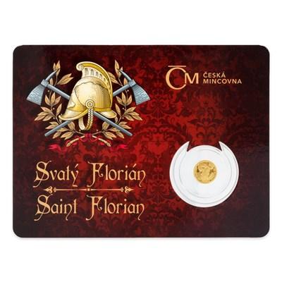 Dvojjazyčné balení zlaté mince Svatý Florián