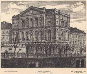 Budova Prozatímního divadla na kresbě od Bohumíra Roubalíka