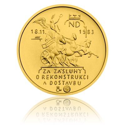 Reverzní strana repliky medaile za zásluhy o rekonstrukci a dostavbu