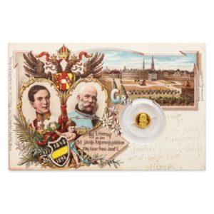 Replika dobové pohlednice se zasazenou mincí František Josef I.