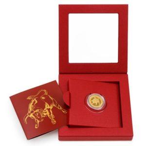 Zlatý dukát znamení zvěrokruhu uložený ve zdobné euti
