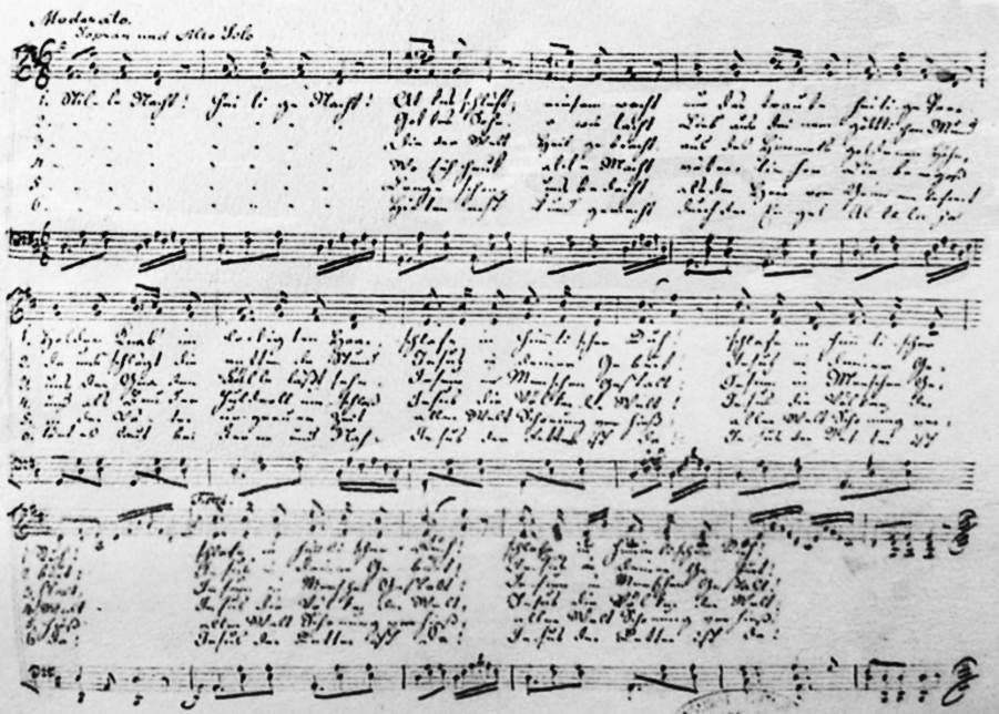 Originální notový zápis vánoční koledy Tichá noc