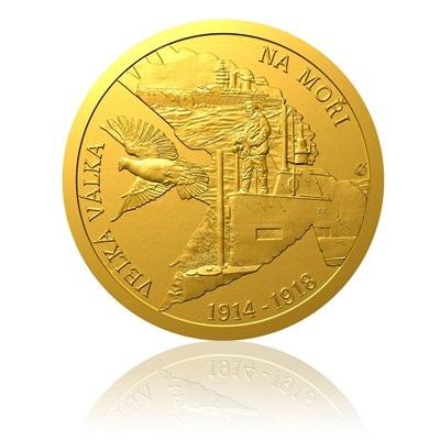 Zlatá mince s vyobrazením ukončení 1 světové války na moři