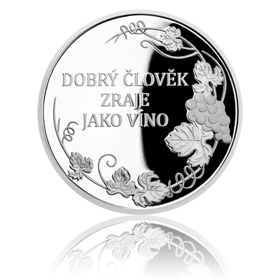 Stříbrná medaile K narozeninám - vinná réva
