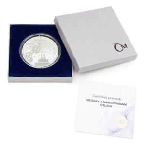 Dárkové balení stříbrné medaile k narozeninám