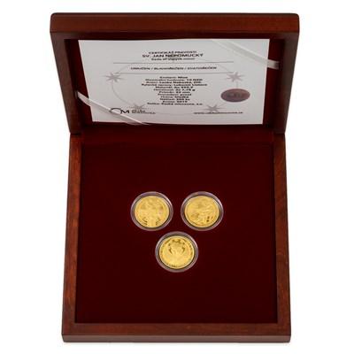 Sada tří zlatých mincí Svatý Jan Nepomucký v ozdobné kazetě