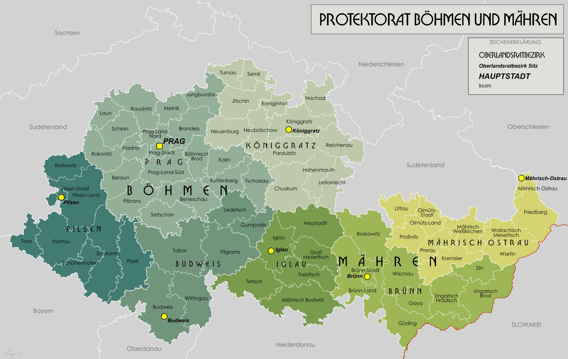 Mapa protektorátu z let 1942–1945