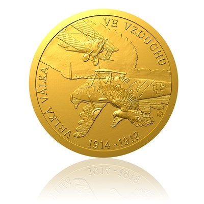 Zlatá mince s vyobrazením ukončení 1 světové války ve vzduchu