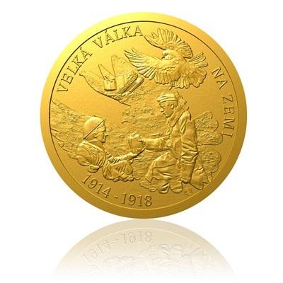 Zlatá mince s vyobrazením ukončení 1 světové války na souši
